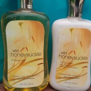 Wild Honeysuckle shower gel & body lotion, 8 oz.